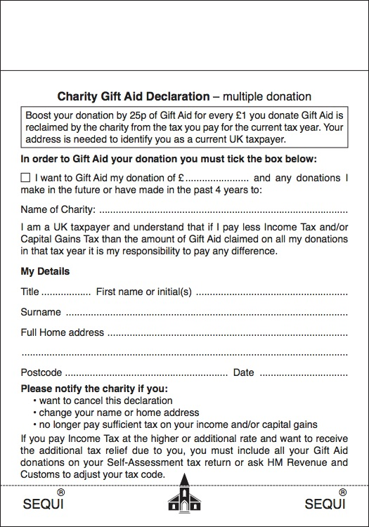 Donation envelopes gift aid charity multiple declaration negle Image collections